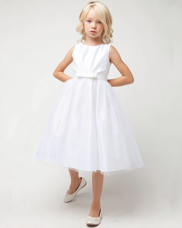Classic White Satin & Tulle Pleated Communion Dress - One Small Child