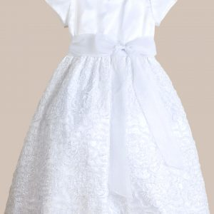 White Sequin & Mesh Communion Dress with Organza Top - One Small Child