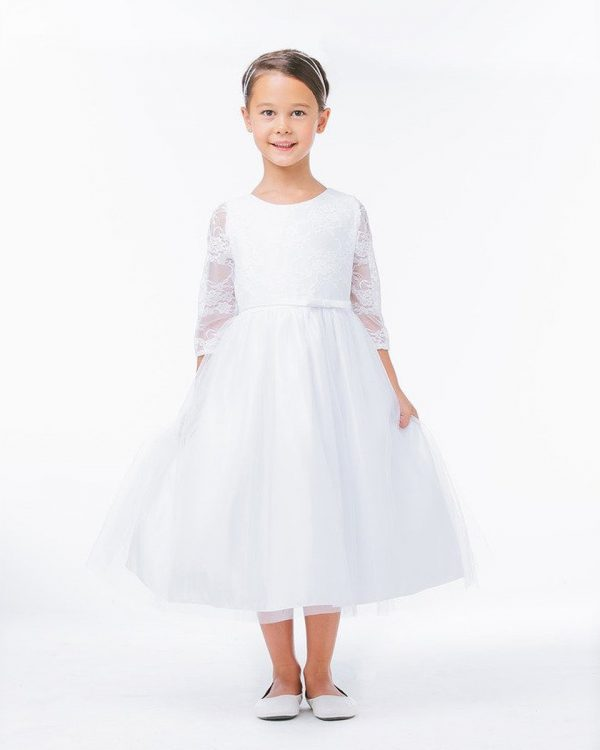 White 3/4 Sleeve Lace Communion Dress with Tulle Skirt - One Small Child