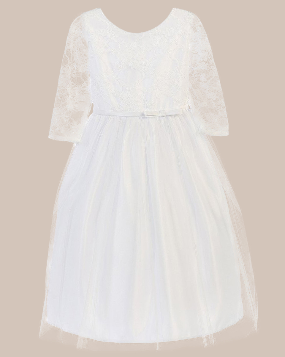 7012507d07a White 3 4 Sleeve Lace Communion Dress with Tulle Skirt - One Small Child