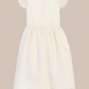 Classic Satin Floral Embroidered Organza Overlay Communion Dress - One Small Child