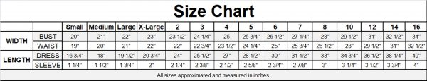 Classic Satin Floral Embroidered Organza Overlay Communion Dress Size Chart Image - One Small Child