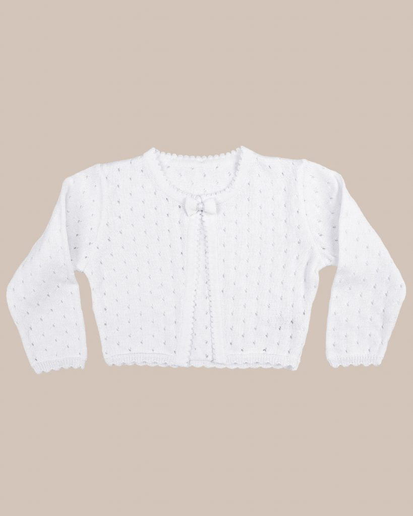 Girls White 100% Cotton Sweater with Tear Drop Pattern and Scalloped Trim - One Small Child