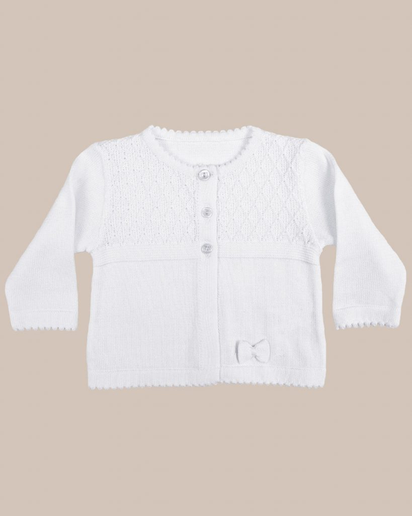 Girls White 100% Cotton Sweater with Diamond Knit Bodice and Rosebud Trim - One Small Child