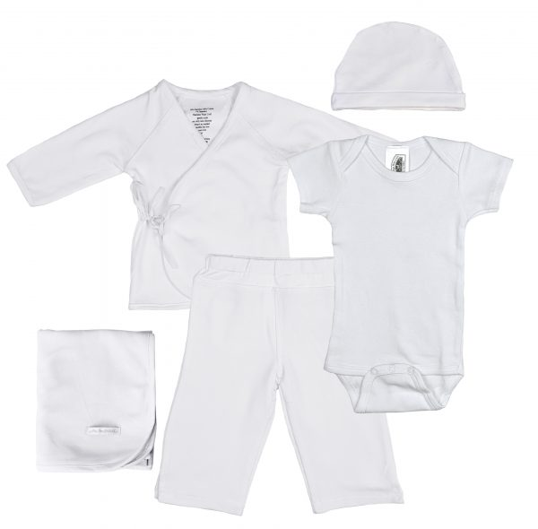 Boys Five-Piece Bamboo Layette Set in Blue or White - One Small Child